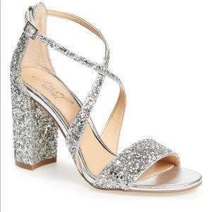BADGLEY MISCHKA sparkle block heels